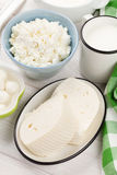 Dairy products. Sour cream, milk and cheese Stock Images