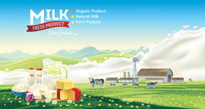 Dairy products and splash milk. Stock Photos