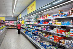 Dairy products in a store Royalty Free Stock Image