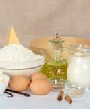 Dairy products, sunflower oil and the spices Stock Photography