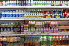 Dairy products at a supermarket in Bangkok, Thailand. Royalty Free Stock Photography