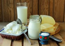 Dairy products. On the table Royalty Free Stock Photos