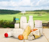 Dairy products on table stock photos