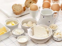 Dairy products on a table Royalty Free Stock Image