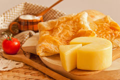Dairy products and traditional pie. Dairy products and traditional cheese pie for breakfast Royalty Free Stock Photography