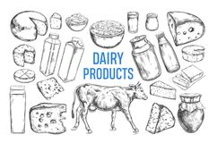Dairy products vector collection. Cow, milk products, cheese , butter, sour cream, curd, yogurt. Farm foods. Farm landscape with cow. Hand drawn illustration Stock Photo