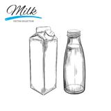 Dairy products vector collection. Milk box and bottle. Hand drawn illustration. Dairy products vector collection. Milk box and bottle Stock Photography