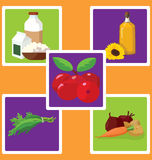 Dairy products, vegetable oil, vegetables, herbs, berries - usef Stock Photography