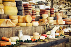 Dairy products and vegetables, grocery shop. Dairy products and vegetables. Grocery shop. Food theme Royalty Free Stock Photography
