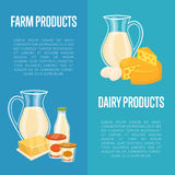 Dairy products vertical flyers with space for text. Dairy products vertical flyers with different milk composition  on blue background, vector illustrations with Royalty Free Stock Photos