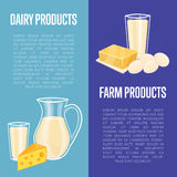 Dairy products vertical flyers with space for text Royalty Free Stock Image