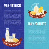 Dairy products vertical flyers with space for text Stock Photo