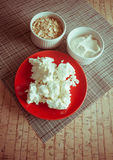 Dairy products and wheat germs. Cottage cheese with wheat and sour cream Stock Photography