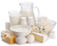Dairy products on a white background. stock photos