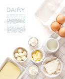 Dairy products on a white table Royalty Free Stock Photo
