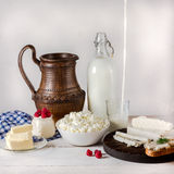 Dairy products on white wooden background. Stock Photos
