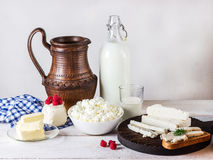 Dairy products on white wooden table. Stock Photo