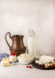 Dairy products on white wooden table. Stock Images