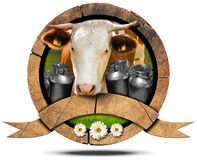 Dairy Products - Wooden Icon with Cow and Cans Royalty Free Stock Image
