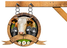 Dairy Products - Wooden Sign with Chain Stock Photos