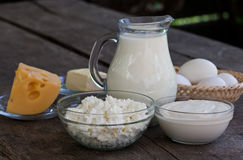 Dairy products on wooden table Stock Photo