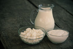 Dairy products on wooden table Royalty Free Stock Image
