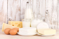 Dairy products on wooden table Royalty Free Stock Photos