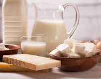 Dairy products on wooden table. Milk and dairy products on wooden table Stock Photos
