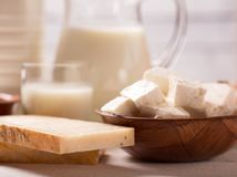 Dairy products on wooden table. Milk and dairy products on wooden table Royalty Free Stock Photos