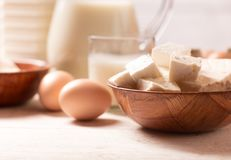 Dairy products on wooden table. Milk and dairy products on wooden table Stock Images
