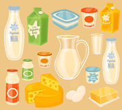 Dairy products on wooden table, milk, raster icon Stock Photos
