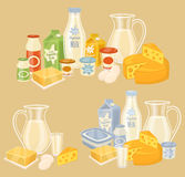 Dairy products on wooden table, milk, raster icon Royalty Free Stock Images