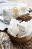 Dairy products on wooden table Stock Images