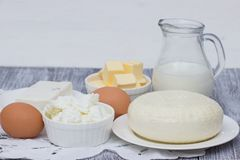 Dairy products on wooden table. Royalty Free Stock Photos