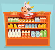 Dairy products on wooden table Stock Image