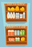 Dairy products on wooden table Stock Photos
