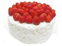 Dairy pudding dessert with wild strawberry berries Stock Photography