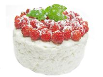 Dairy pudding dessert with wild strawberry berries Royalty Free Stock Photography