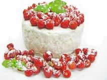 Dairy pudding dessert with wild strawberry berries Stock Photo