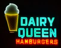 Dairy Queen, vintage neon sign along Route 66. royalty free stock photos