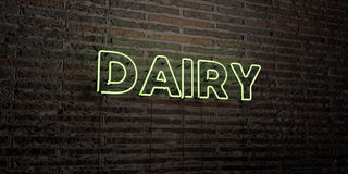 DAIRY -Realistic Neon Sign on Brick Wall background - 3D rendered royalty free stock image Stock Image