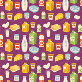 Dairy seamless pattern on blue background. Dairy seamless pattern with different dairy icons on perpl background, vector illustration. Healthy nutritious concept Royalty Free Stock Photos