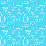 Dairy seamless pattern in line style design Stock Images
