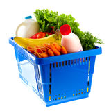 Dairy shopping basket Stock Photos