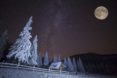 Dairy Star Trek in winter mountains Royalty Free Stock Photography