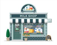 Free Dairy Store Or Milk Shop With Signboard, Awning. Royalty Free Stock Image - 159577346