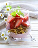 Dairy yogurt dessert with muesli Stock Photo