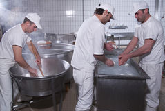 Dairymen, who prepare the mozzarella royalty free stock image