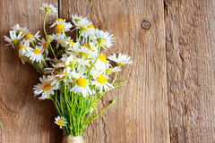 Daisies bouquet. Over rustic wooden background, texture Royalty Free Stock Images