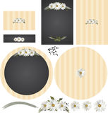 Daisies on chalkboard rustic wedding invitation set. The Daisies on chalkboard rustic wedding invitation set includes standard invitation formats in graphic Royalty Free Stock Photos